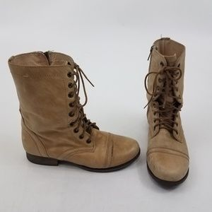Steve Madden Boots 6.5 Troopa Leather Combat Tan